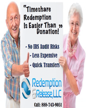 Timeshare redemption is easier than donation! No IRS audit Risks, More Affordable, Quick Transfers. Call us 888-743-9051